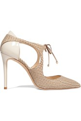 Jimmy Choo Vanessa Cutout Snake Effect Nubuck And Patent Leather Pumps Beige