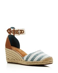 Sperry Valencia Striped Espadrille Wedges Blue
