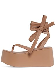 Gianvito Rossi 80Mm Leather Thong Wedge Sandals Praline