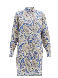 Etro Paisley Print Cotton Shirtdress Blue