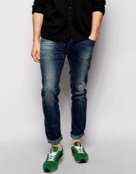 Sisley Jeans With Abrasions In Super Skinny Fit Blue843