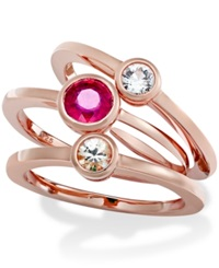 Macy's 10K Rose Gold Over Sterling Silver Ring Set Ruby 1 1 10 Ct. T.W. And White Sapphire 1 2 Ct. T.W. 3 Ring Set