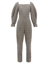 Emilia Wickstead Elsie Prince Of Wales Check Wool Blend Jumpsuit Black White