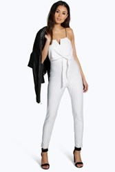 Boohoo Pinstripe Tailored Jumpsuit White