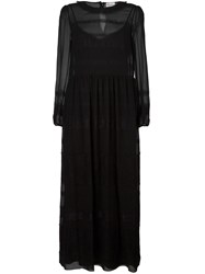 Red Valentino Sheer Lace Insert Dress Black