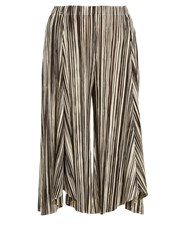 Issey Miyake Striped Wide Leg Pleated Culottes Black White