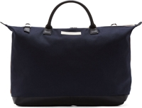 Want Les Essentiels Navy And Beige Canvas Hartsfield Weekender Tote Bag