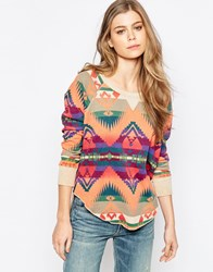 Denim And Supply Ralph Lauren Denim And Supply By Ralph Lauren Geo Pattern Drapey Sweatshirt Campfire Beacon Multi