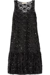 Michael Michael Kors Sequin Embellished Tulle Dress Black