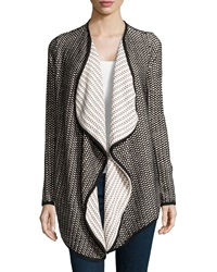Xcvi Free Fall Honeycomb Knit Cardigan Black Ivory