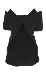 Brandon Maxwell Gauguin Knit Folded Bow Top Black