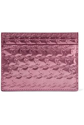Christian Louboutin Kios Embossed Metallic Leather Cardholder Pink