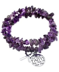 Unwritten Amethyst Faith And Cross Charm Bracelet With Silver Plated Metal Accents