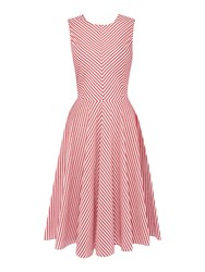 Marella Magenta Sleeveless Fit And Flare Striped Dress Ruby