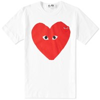 Comme Des Garcons Play Big Heart Logo Tee White