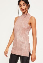 Missguided Nude Shimmer Pleated Tunic