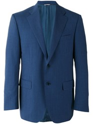 Canali Two Button Blazer Men Cupro Virgin Wool 56 Blue
