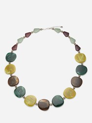 One Button Pebble Marbled Necklace Green