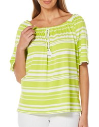 Rafaella Striped Peasant Top Green
