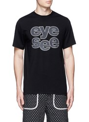 Icny 'Sound Out' Reflective Print T Shirt Black