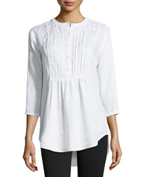 Neiman Marcus Pleated Peasant Linen Tunic White