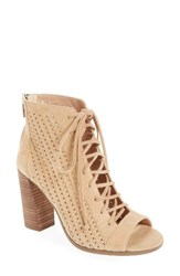 Vince Camuto Women's Kevina Lace Up Open Toe Bootie Tumbleweed Suede