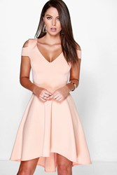 Boohoo Bardot Strap Plunge High Low Skater Dress Apricot