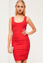 Missguided Red Slinky Scoop Neck Ruched Side Bodycon Dress