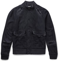 Tomas Maier Slim Fit Suede Bomber Jacket Navy