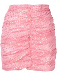Attico Ruched Mini Skirt Pink
