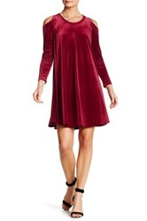 Vanity Room Velvet Cold Shoulder Swing Dress Red