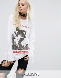 Reclaimed Vintage Inspired Band Rolling Stones Long Sleeve Top With Tie Up Sleeves White