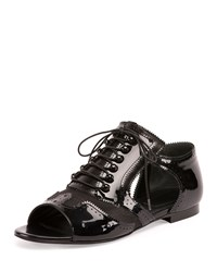 Patent Mesh Open Toe Oxford Black Givenchy