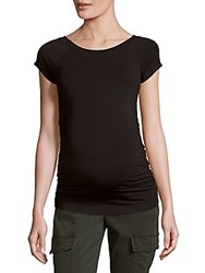 Rosie Pope Solid Ruched Boatneck Maternity Tee Black