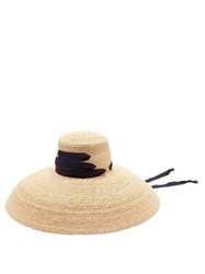 Lola Hats Espartina Grosgrain Trim Raffia Hat Navy