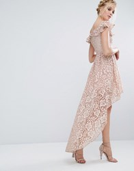 Chi Chi London Lace Asymmetric Off The Shoulder Dress With Frill Details Mink Pink