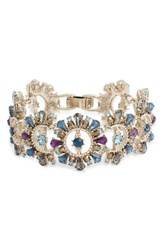 Marchesa Drama Crystal Bracelet Blue Multi Gold