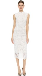 Monique Lhuillier High Neck Dress Silk White Nude
