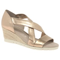 Gabor Lisette Wide Fit Cross Strap Sandals Gold