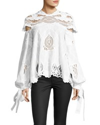 Jonathan Simkhai Crochet Embroidered Blouson Sleeve Top White