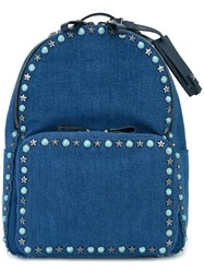 Valentino Garavani Star Studded Denim Backpack Blue