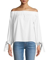 7 For All Mankind Off The Shoulder Tie Cuff Poplin Top White