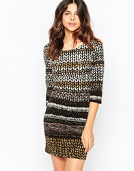Pussycat London Bodycon Dress In Knit Print Brown