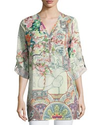 Johnny Was Vita Floral Print Blouse Multi