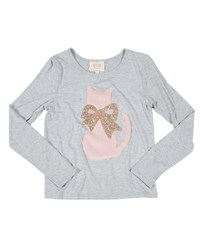 Hannah Banana Faux Fur Cat Tee W Crystal Bow Size 4 6X Gray