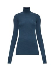 Fendi Monogram Embroidered Ribbed Roll Neck Sweater Navy
