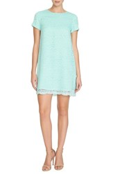Petite Women's Cece By Cynthia Steffe 'Kayte' Lace Shift Dress Aqua Frost