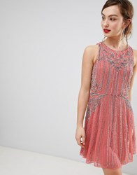 Frock And Frill Heavily Embellished Swing Dress Pink