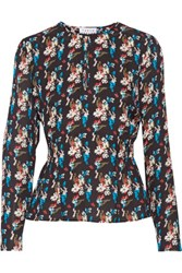 Tanya Taylor Heather Printed Silk Top Midnight Blue
