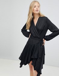 D.Ra Parker Wrap Waterfall Hem Dress Jet Black